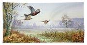 Pheasants In Flight  Bath Towel