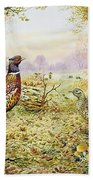Pheasants In Woodland Bath Towel