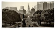 Philadelphia Benjamin Franklin Parkway In Sepia Bath Towel