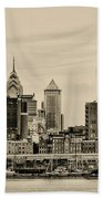 Philadelphia From The Waterfront In Sepia Bath Towel