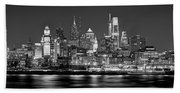 Philadelphia Philly Skyline At Night From East Black And White Bw Bath Towel