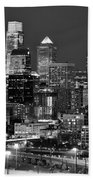 Philadelphia Skyline At Night Black And White Bw  Bath Towel