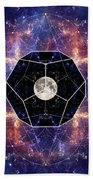 Photo Of The Moon And Sacred Geometry Bath Towel
