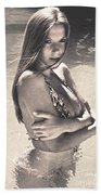 Photograph Vintage Summer Look With Woman In Bikini #8624m Bath Towel
