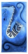 Piano Keys In A Saxophone Blue - Music In Motion Bath Towel