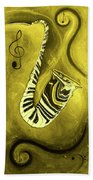 Piano Keys In A  Saxophone Golden - Music In Motion Bath Towel