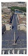 Piazza San Pietro And Colonnaded Square As Seen From The Dome Of Saint Peter's Basilica - Rome, Ital Bath Towel