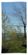 Picnic Table By The Lake Photo Bath Towel
