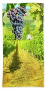 Picturesque Vineyard At Sunset Bath Towel