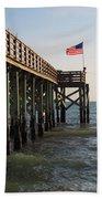 Pier, Flag, Fishing Bath Towel