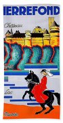 Pierrefonds Castle, Woman On Horse, France Hand Towel