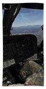 Pilot Operating The Cockpit Of A Uh-60 Bath Towel