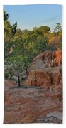 Pine Trees On Red Cliffs Bath Towel