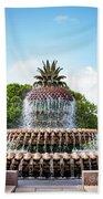 Pineapple Fountain In Charleston South Carolina Bath Towel