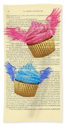 Pink And Blue Cupcakes Vintage Dictionary Art Bath Towel