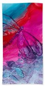 Pink And Blue Dragonflies Bath Towel