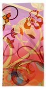 Pink And Purple Flower Medley Bath Towel