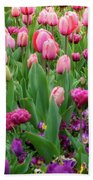 Pink And Purple Tulips At The Spring Floriade Festival Bath Towel