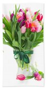 Pink And Violet Tulips Bouquet  Bath Towel