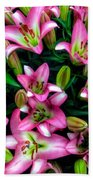 Pink And White Lilies Bath Towel