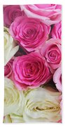 Pink And White Roses Bunch Bath Towel