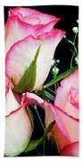 Pink And White Roses Bath Towel