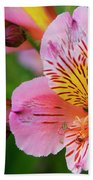 Pink And Yellow Flora Bath Towel