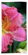 Pink And Yellow Lily After Rain Bath Towel