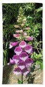 Pink Bell Flowers. Foxglove 03 Bath Towel
