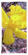 Pink Blossom Spring Trees Yellow Daffodil Flower Baslee Troutman Bath Towel