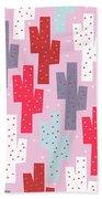 Pink Cactus Pattern Bath Towel
