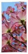 Pink Dogwood Flowers Landscape 11 Blue Sky Botanical Artwork Baslee Troutman Hand Towel
