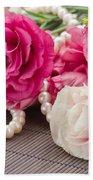 Pink Eustoma Flowers  Bath Towel