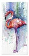 Pink Flamingo Watercolor Bath Towel