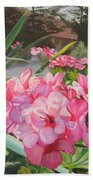 Pink Geraniums Bath Towel