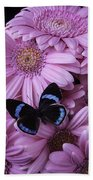 Pink Gerbera Daises And Butterfly Bath Towel