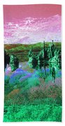 Pink Green Waterscape - Fantasy Artwork Bath Towel