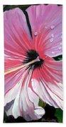 Pink Hibiscus With Raindrops Bath Towel