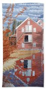 Pink House In Autumn Bath Towel
