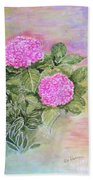 Pink Hydrangeas And Hostas Bath Towel