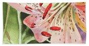 Pink Lily Close Up Bath Towel