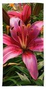 Pink Lily Lush Garden Bath Towel