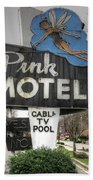Pink Motel Sign Maggie Valley North Carolina Bath Towel