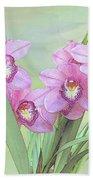 Pink Orchid Photo Sketch Bath Towel