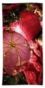 Pink Ornaments Holiday Card Bath Towel