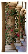 Pink Peacock Colored Bougainvillea Blossoms Climbing Pillars Photograph By Colleen Bath Towel