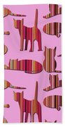 Pink Pussy Cat Hand Towel
