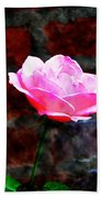Pink Rose On Red Brick Wall Bath Towel