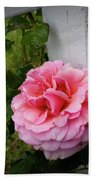 Pink Rose Bath Towel by Valeria Donaldson