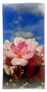 Pink Roses Against The Beautiful Arizona Sky Bath Towel